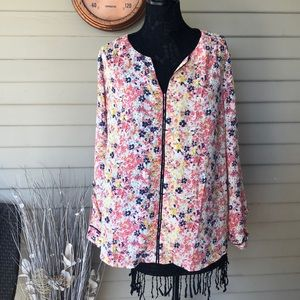 ModCloth Floral Long Sleeve V Neck Blouse